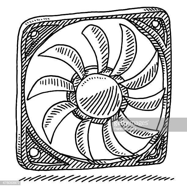 computer part fan drawing - electric fan stock illustrations