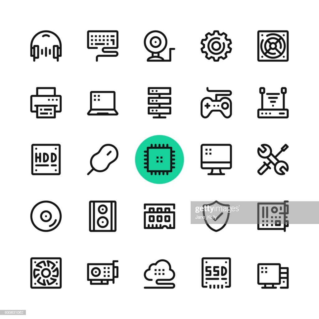 Computer parts, computer hardware line icons set. Modern graphic design concepts, simple outline elements collection. 32x32 px. Pixel perfect. Vector line icons
