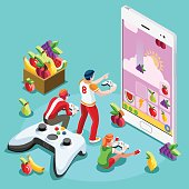 Computer People Video Game Gaming Isometric Vector Illustration