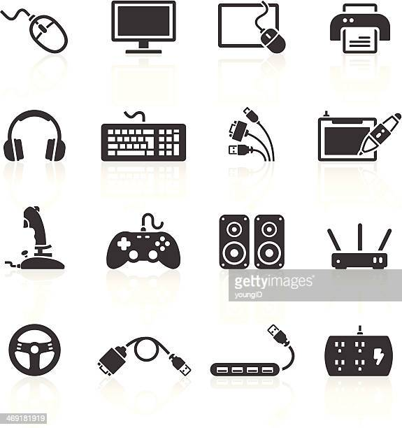 computer peripherals icons - electric plug stock illustrations