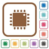 Computer processor simple icons