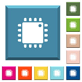 Computer processor white icons on edged square buttons