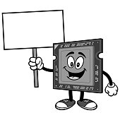 Computer Processor with Sign Illustration