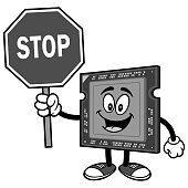 Computer Processor with Stop Sign Illustration