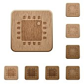 Computer processor wooden buttons