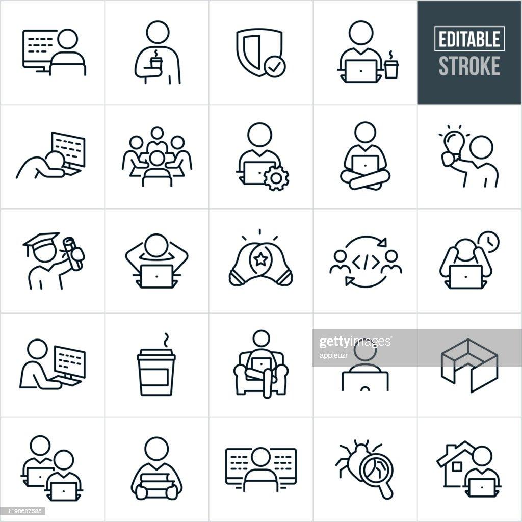 Computer Programmierung thin Line Icons - Editable Stroke : Stock-Illustration