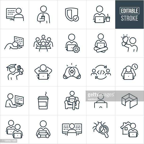 computer programing thin line icons - editable stroke - working stock illustrations