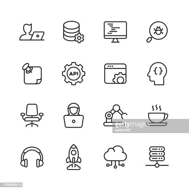 computer-programmierlinie-symbole. bearbeitbarer strich. pixel perfekt. für mobile und web. enthält symbole wie programmierung, computersprache, softwareentwicklung, codierung, virus, fehler, maschinelles lernen, künstliche intelligenz, agile, hacker, j - programmierer stock-grafiken, -clipart, -cartoons und -symbole