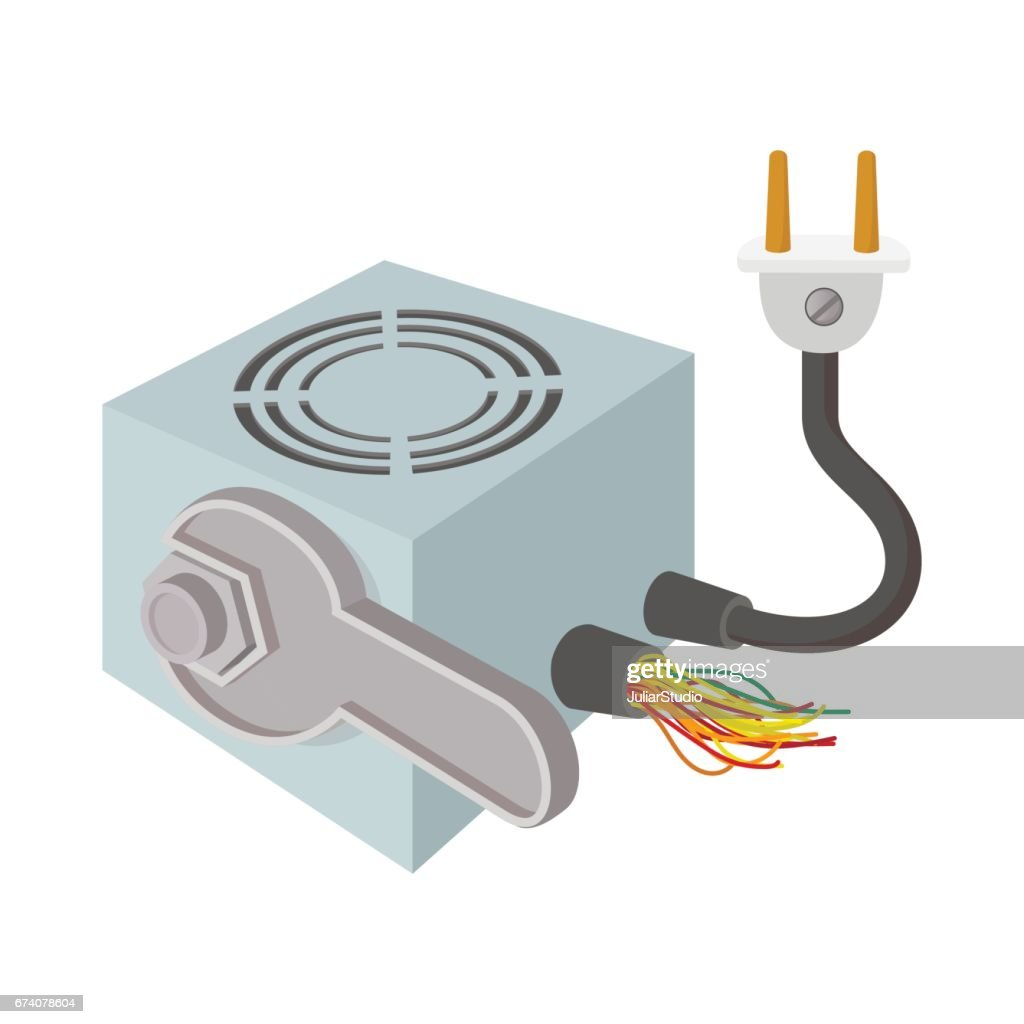Computer repair icon, cartoon style