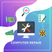 Computer repair. Technical support, maintenance, computer diagnostics concepts. Flat design graphic elements for websites, web banners, web page templates, landing pages, creative advertising materials and marketing concepts. Modern vector illustration
