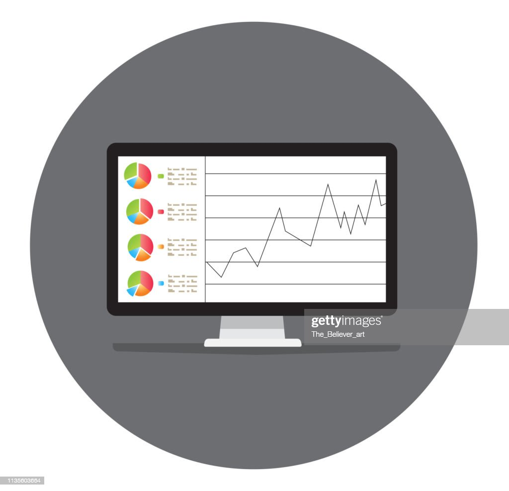 Computer screen, laptop, smart phone screens with financial charts and graphs