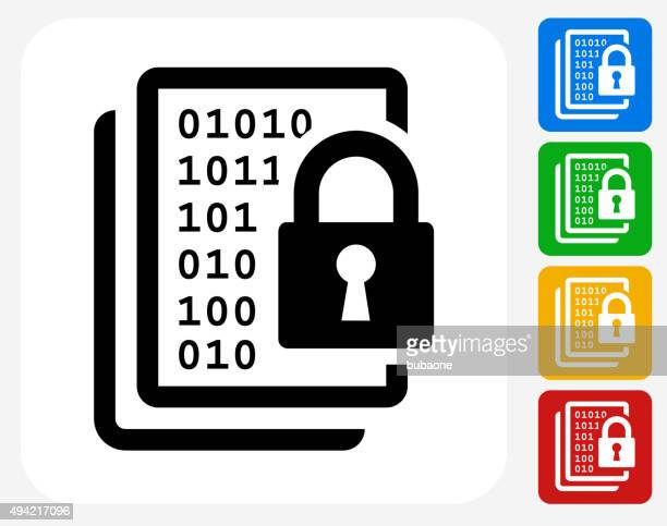 computer security icon flat graphic design - encryption stock illustrations