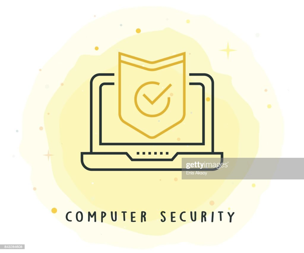 Computer Security Icon with Watercolor Patch