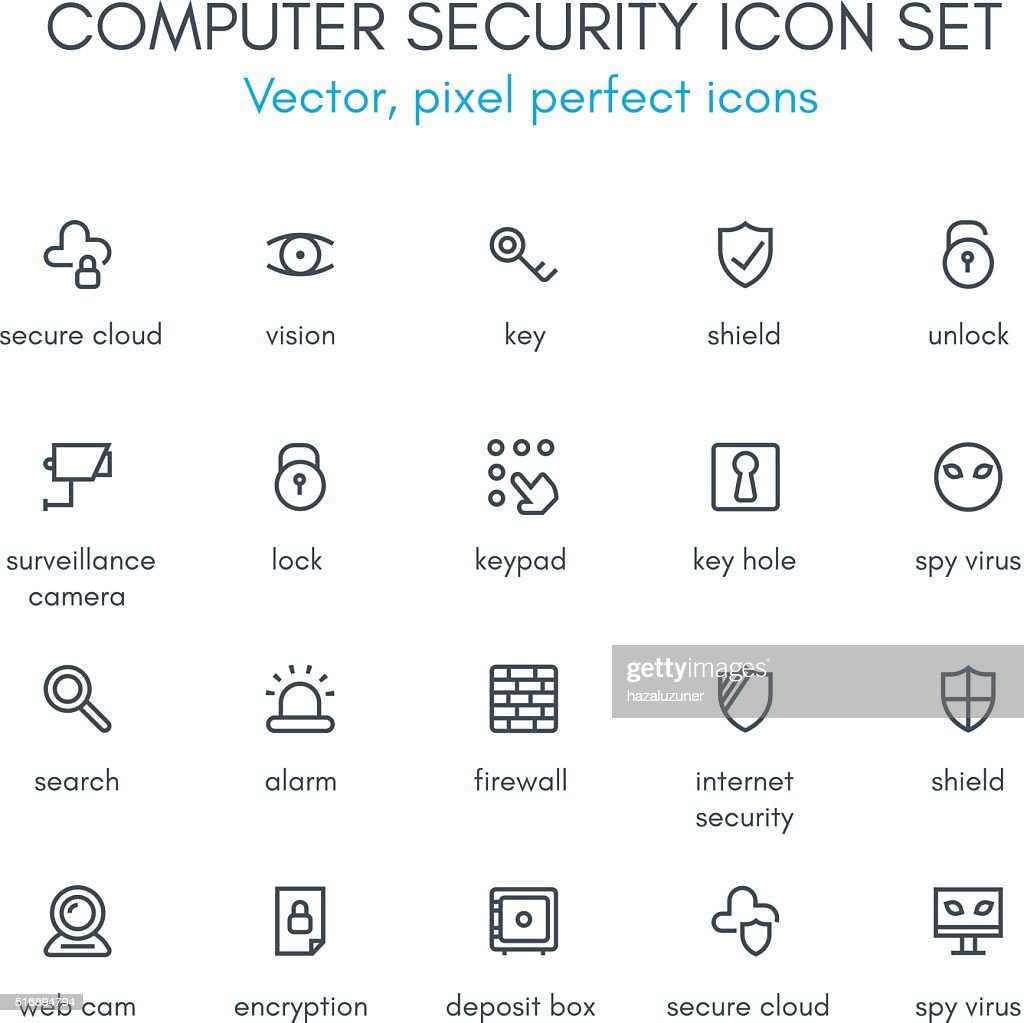 Computer security line icon set.