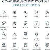 Computer security line icon set.