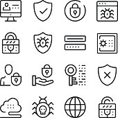 Computer security line icons set. Modern graphic design concepts, simple outline elements collection. Vector line icons