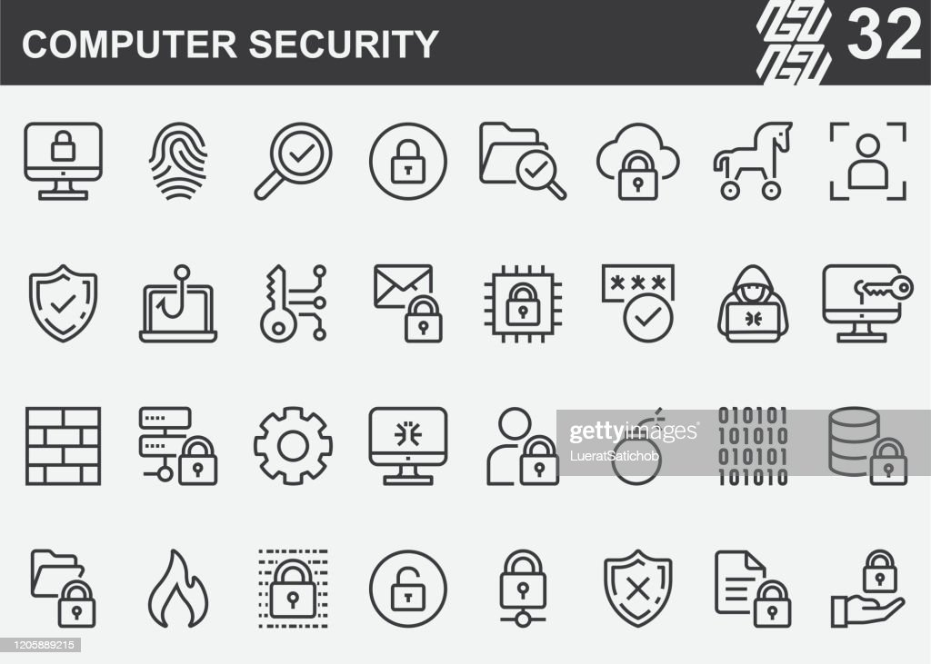 Computer Security Line Icons : stock illustration