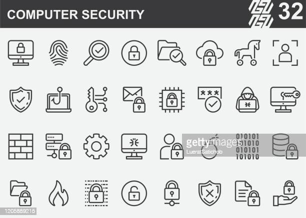 computer security line icons - firewall stock illustrations