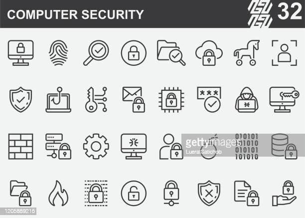 illustrazioni stock, clip art, cartoni animati e icone di tendenza di icone della linea di sicurezza del computer - sicurezza di rete