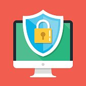 Computer security, protect your PC concepts. Desktop computer and shield icon with padlock. Flat design graphic elements. Modern vector illustration
