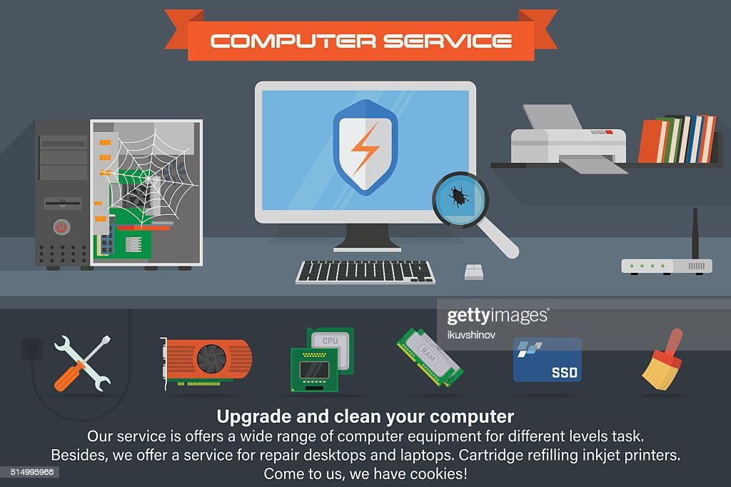 Computer service banner. Running the process of searching virus.