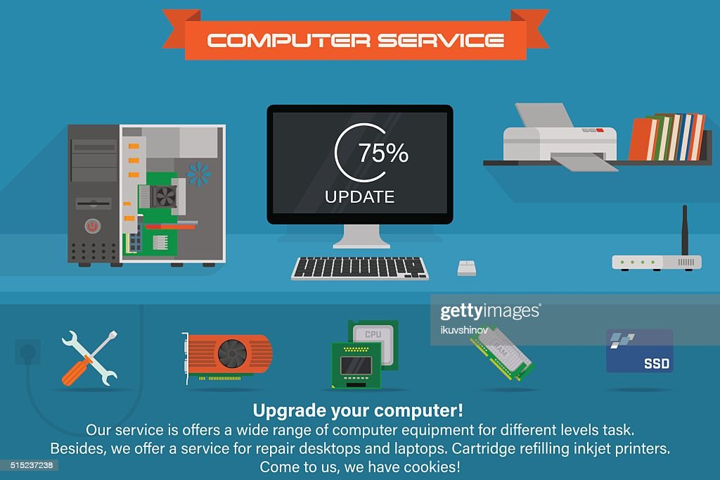Computer service banner. Running the process of updating