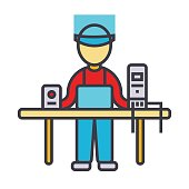 Computer service, geek, specialist, pc enigneer flat line illustration, concept vector isolated icon