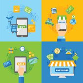 Computer shopping concepts of online payment methods flat design vector