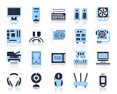 Computer simple flat color icons vector set