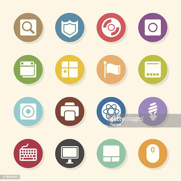 Computer System Icons - Color Circle Series