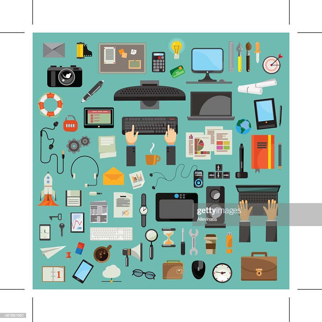 Computer technology, icon set, flat design