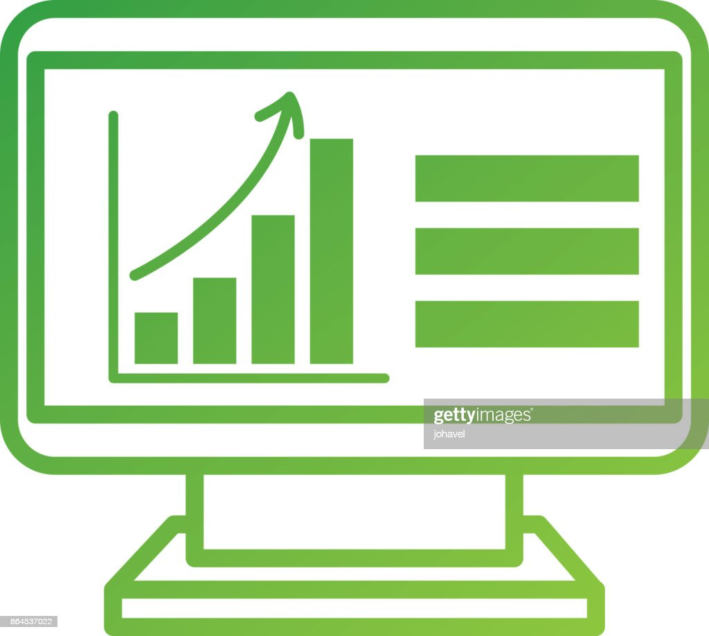 Computer Technology With Financial Graph Chart Arrow Growth Vector