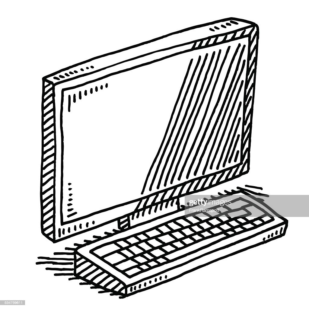 Computer Terminal Monitor Keyboard Drawing High Res Vector Graphic Getty Images
