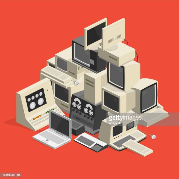 computer trash - obsolete stock illustrations