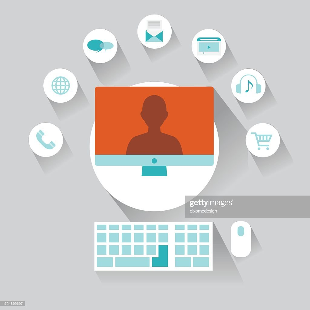 computer user flat with shadow