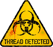 computer virus, thread detection warning sign, vector illustration