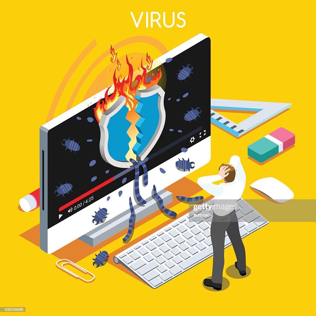 Computer Virus Trojan Malware Attack Warning Infographic Flat Isometric People