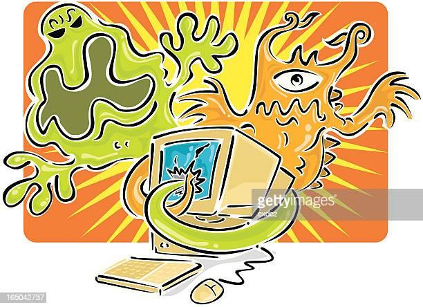 illustrations, cliparts, dessins animés et icônes de virus informatique - catastrophe aérienne