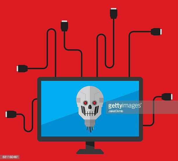 computer virus - usb cable stock illustrations, clip art, cartoons, & icons