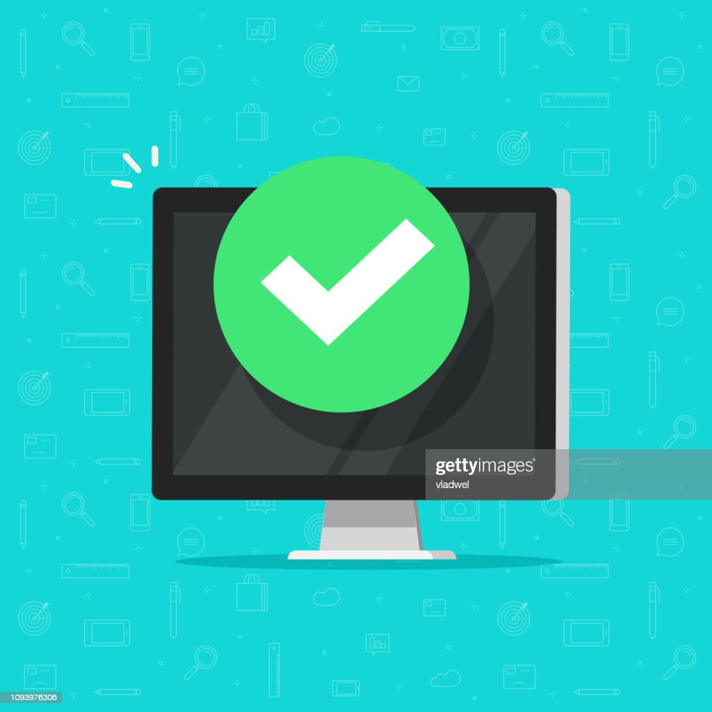 Computer with checkmark or tick notification vector illustration, flat design of desktop pc with approved choice, idea of task done, updated or download complete, accept or approve checkmark clipart