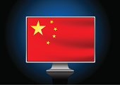 Computer with chinese flag