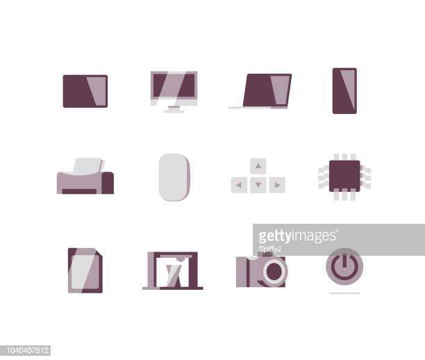 Ordinateurs et périphériques plat icônes