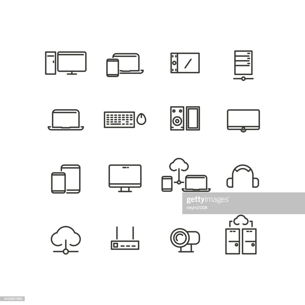 Computers and devices line icons set