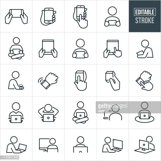 computers and devices thin line icons - editable stroke - people stock illustrations