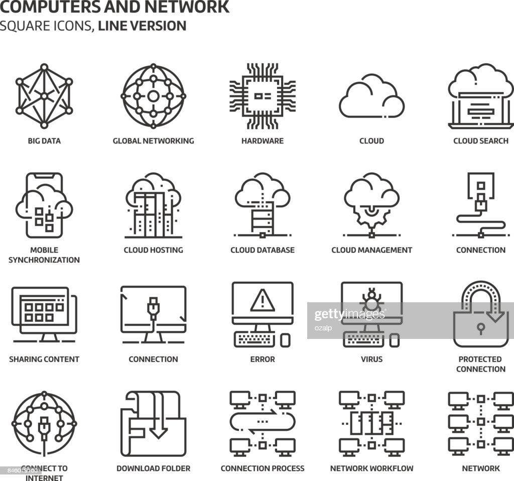 Computers and network, square icon set