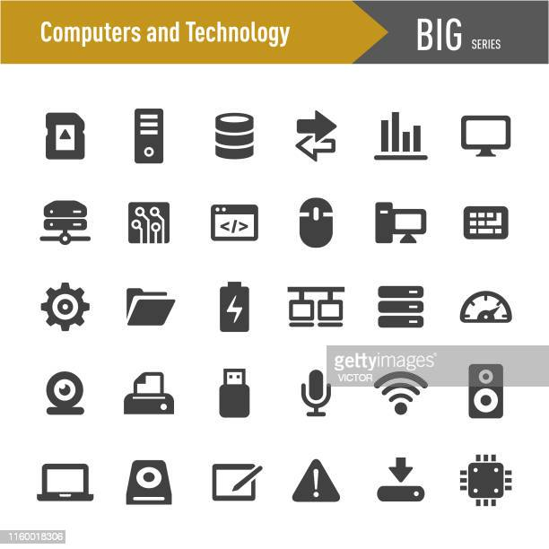 ilustraciones, imágenes clip art, dibujos animados e iconos de stock de computadoras e iconos tecnológicos - big series - tableta gráfica