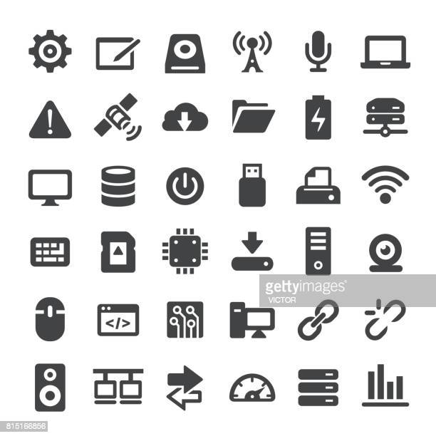 computers and technology icons - big series - computer part stock illustrations