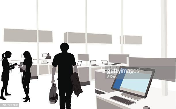 computerstore - electronics industry stock illustrations, clip art, cartoons, & icons