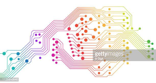 computing number electronic rainbow - computer chip stock illustrations