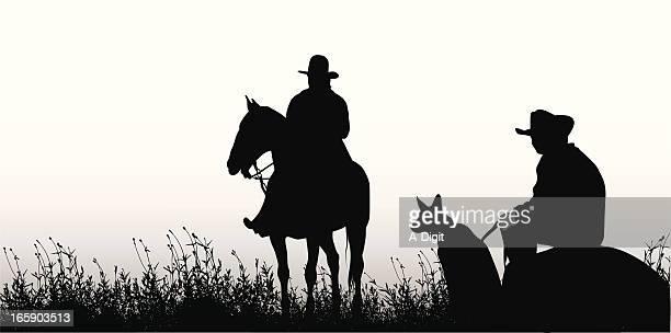 comraderie vector silhouette - horseback riding stock illustrations, clip art, cartoons, & icons